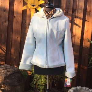 🎉REDUCED🎉NWT Blue hooded faux fur MUDD JACKET S